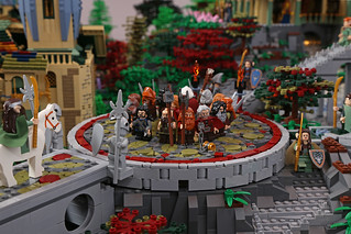 Dwarves forming a circle around Bilbo