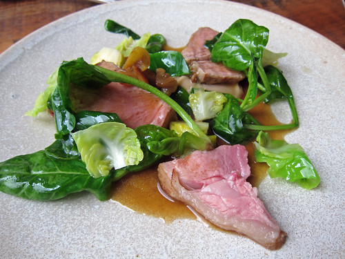 Roast Chop of Rose Veal, Chestnut, Spinach and Brussel Sprouts