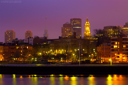 North End Boston at Dawn, Old North Church and Custom House Clock Tower by Greg DuBois Photography