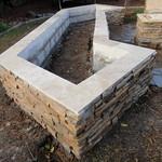 Cultured Stone Planter Box With Travertine Tile Cap In Davis