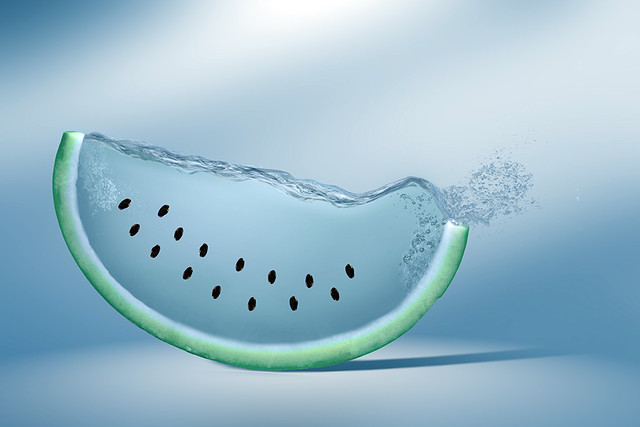 watermelon, blue, manipulation, water