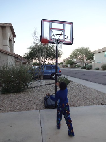 Paul shooting hoops