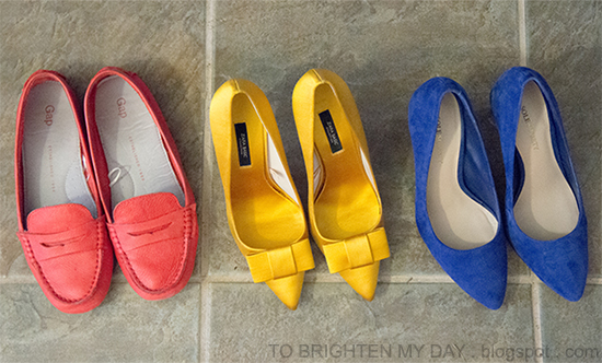 left -> right: Gap driving moccasins, Zara satin bow pumps, Sole Society Desirae blue suede pumps