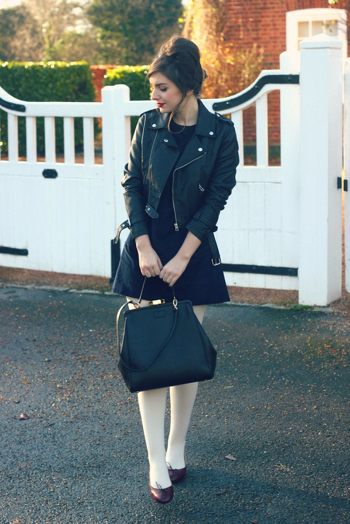 Mod Dolly Dress Beehive Leather Jacket