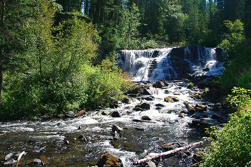Bridge Creek Falls in Centennial Park, 100 Mile House, Cariboo, British Columbia, Canada