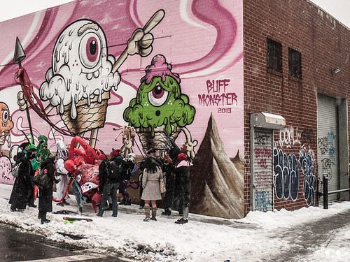 The Kostume Kult Octopi stop to pose at the Buff Monster mural.