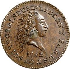 Newman 1792 silver center cent obverse