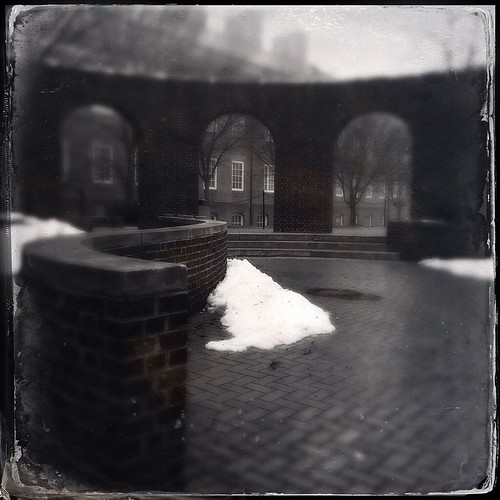 cameraphone trees windows winter blackandwhite usa white snow black brick texture monochrome fog architecture square landscape steps arches icon historic tintype delaware 365 newark distressed baretrees pathway ud apps iphone memorialhall universityofdelaware historicplaces kissingarches iphoneography hipstamatic windowwednesdays iphone5s