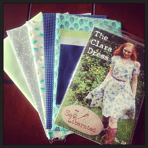 Got my goodies in the mail today! Thanks @goobadesigns ! #fabric #claradress #quilting #sewing