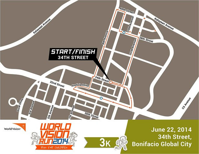 World Vision Run 2014 3k race map