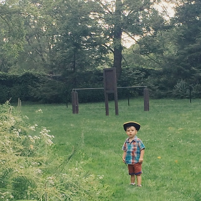 L. insisted on wearing his Johnny Tremain hat on our walk. #instaluther #toddler #children #hats #colonial #headgear