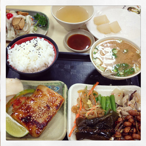 Miso fish set : miso soup, miso fish, small side disheas