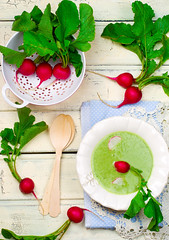 a garden radish cream soup on