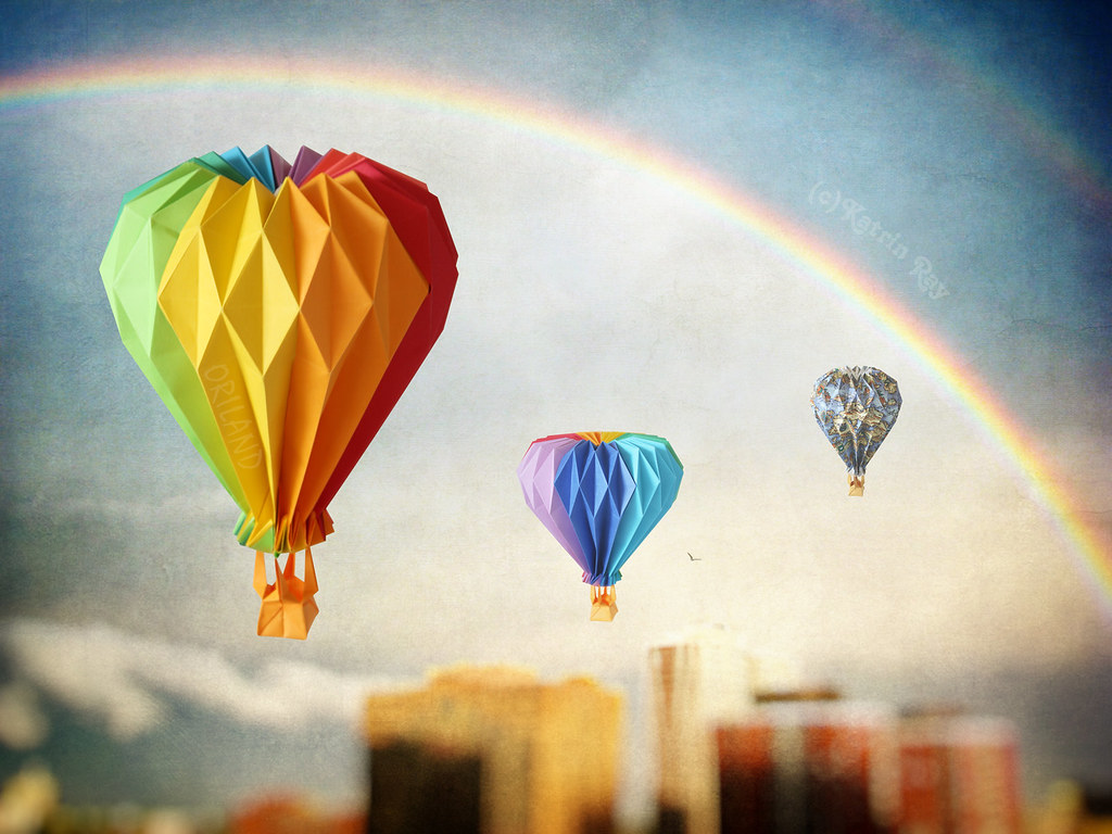 Double Rainbow Origami Balloon Ride