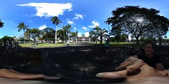 A view of Iolani Palace, America's only Royal Palace, from the front gate - a 360° Equirectangular VR