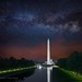 Washington, DC Monuments & Milky Way by Jerry T Patterson