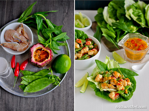 Spicy Passionfruit & Prawn Lettuce Wraps
