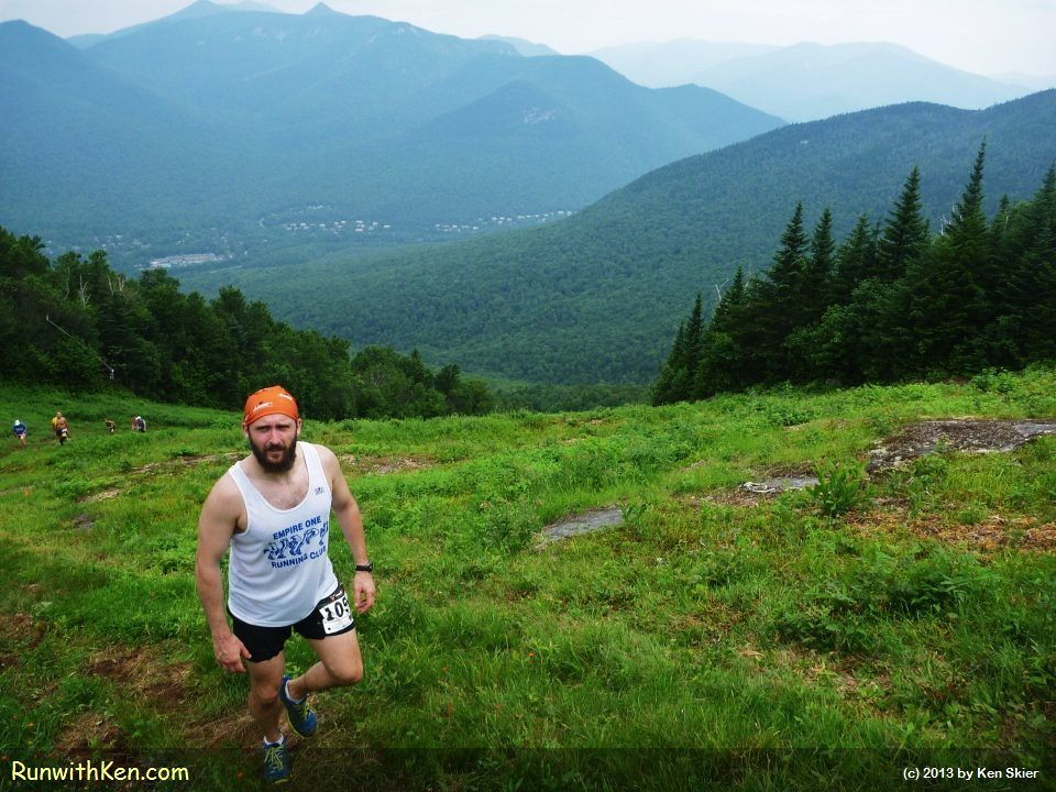 Poised betweeen Earth and Sky!  Mountain Runner on the Upper Walking Boss--at the Acidotic Racing Loon Mountain Race. by runwithken