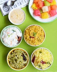sambar rice, lemon rice, curd rice, semiya payasam