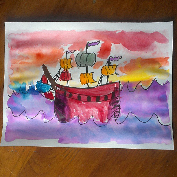 Pirate ship in watercolor by Annika, age 7 :-)