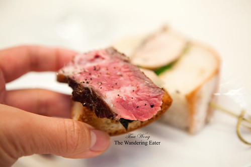 Grilled beef open face sandwich