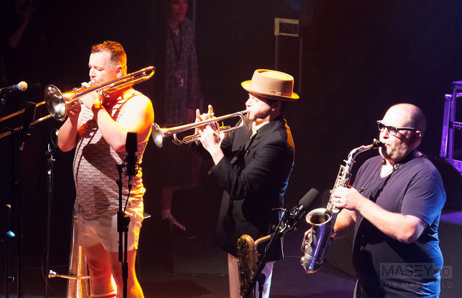 The energetic (& Ricky Gervais lookalike) Joe Lindsay on trombone with Toby Laing and Scott Towers.