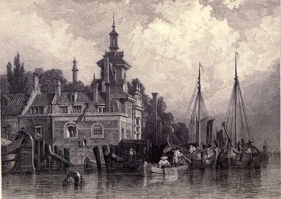 30. Rotterdam, en los Países Bajos, junto al Rin. Boceto de Clarkson Stanfield. 1833. Autor, Ayacata7