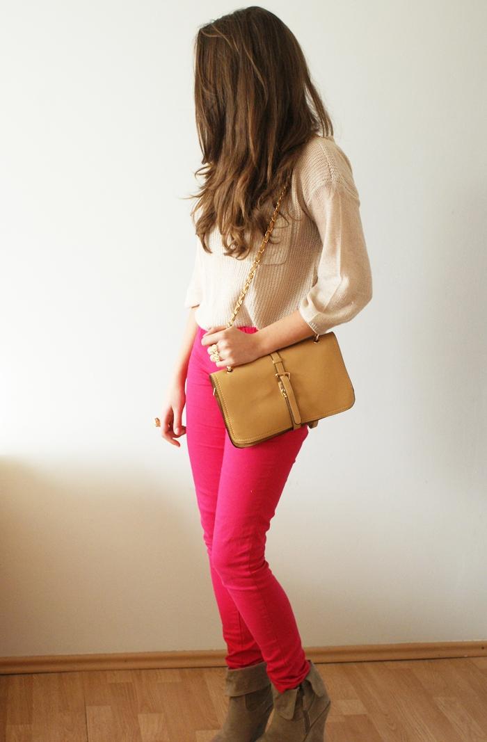 różowe spodnie rurki vero moda pieces