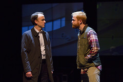 David Wilson Barnes and Brendan Griffin in the Huntington Theatre Company's production of Stephen Belber's THE POWER OF DUFF.  October 11-November 9, 2013 at South End/Calderwood Pavilion at the BCA.  Photo T.Charles Erickson