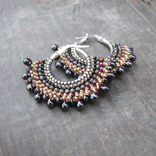Gunmetal Sterling Hoops with Pink and Gold Seed Beads Fan Shaped Boho Earring