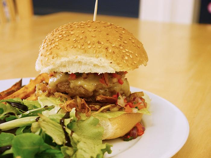 monterey jack cheese burger with sweet potato fries 1