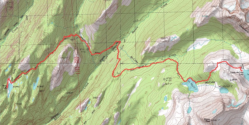 Topographic Map of our second day's hike - Upper McCabe Lake to Miller Lake via the Pacific Crest Trail (PCT)