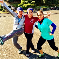 Pre-run antics at the imperial palace this morning (a trial run before our 10k next week).