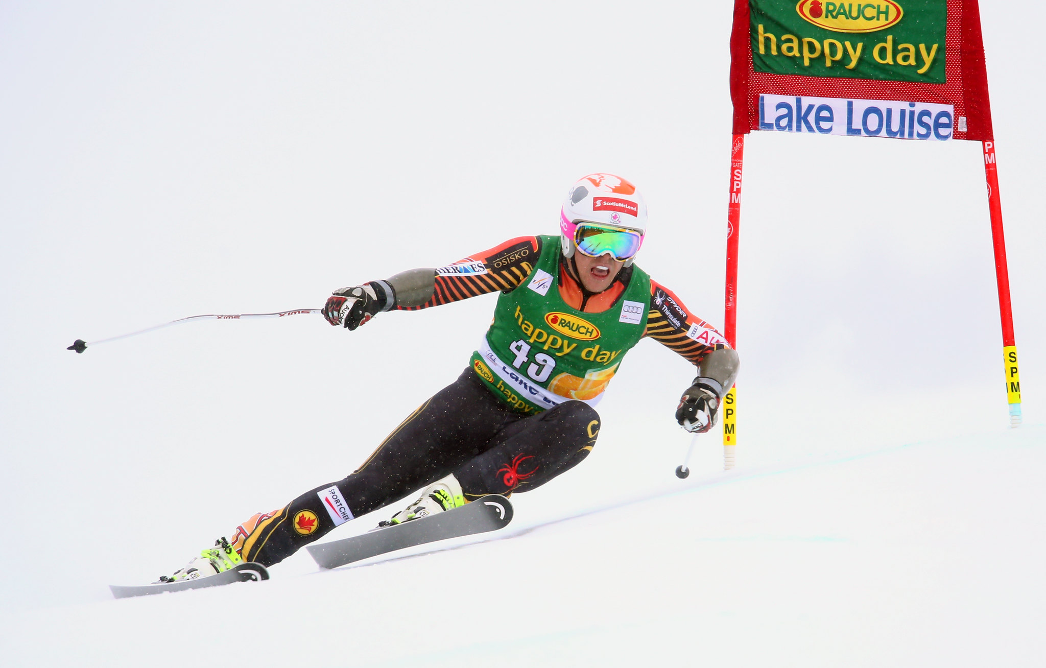 Ben Thomsen in action during the super-G at the FIS Alpine World Cup in Lake Louise, CAN