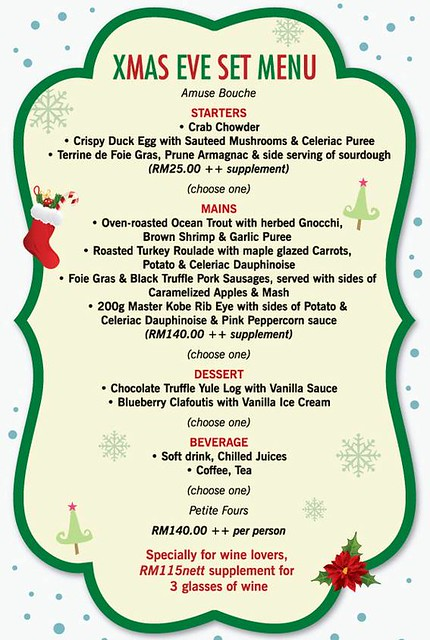 Xmas menu Mezze Bistro bar
