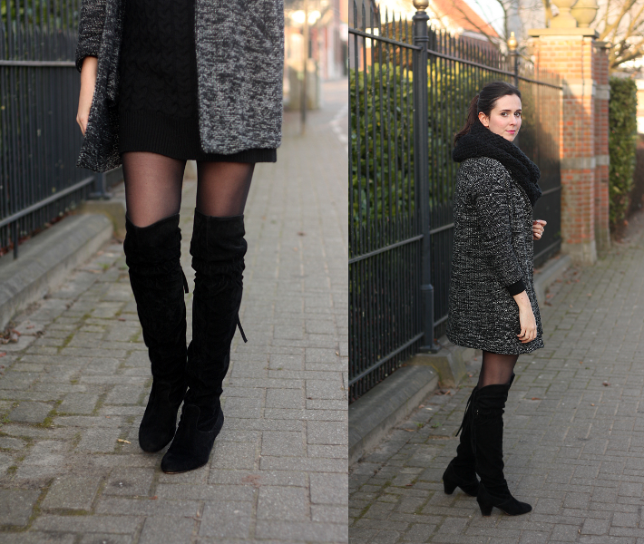 f3aceeecfbb cable knit sweater dress - c o Oasap - coat  Pull and Bear - over the knee  boots  Sacha - necklace  c o Lobogato - circle scarf  H M