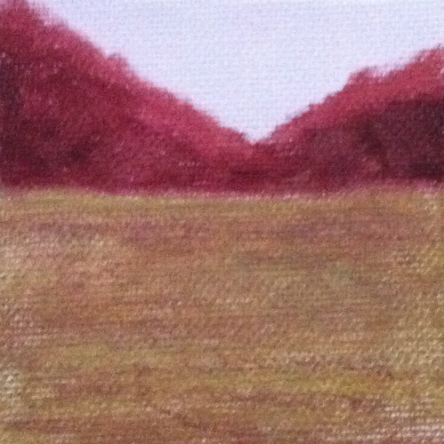 Red Mountains Brown Field (Mini-Painting as of Dec. 10, 2013) by randubnick