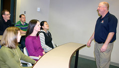 Professor Dave Ketchen talks with students in Auburn's Raymond J. Harbert College of Business.
