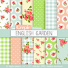 "Roses digital paper: ""ENGLISH GARDEN"" with roses, flowers, gingham patterns and polka dots in vintage colors green, blue, cream and pink by workyourart"