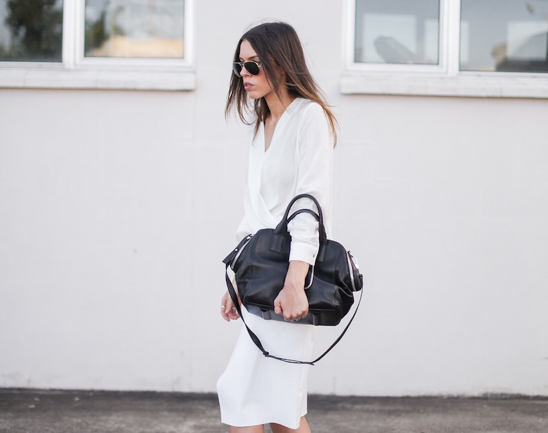 modern legacy fashion street style blog australia Christopher Esber flip split midi skirt drape blouse Witchery Alexander Wang Chastity chain tote bag slide sandals white on white (2 of 9)