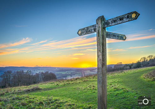 sunset england sign unitedkingdom signpost dorking hdr photomatix surreyhills