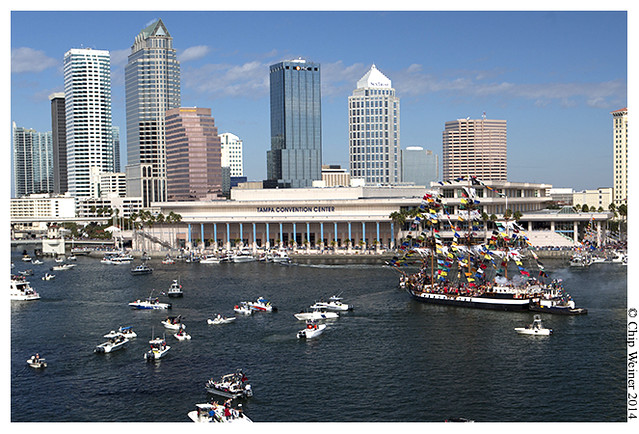 The Jose Gaspar arrives in downtown Tampa before start the annual parade and street party