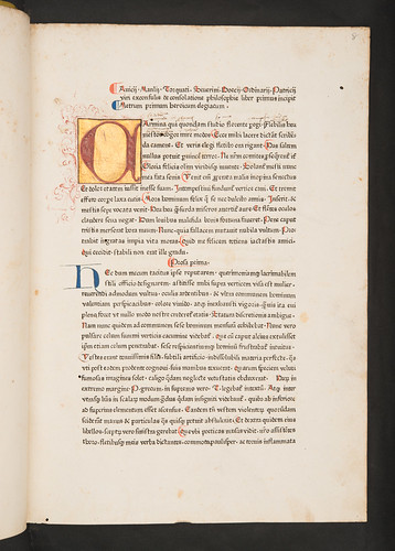 Illuminated initial in Boethius: De consolatione philosophiae