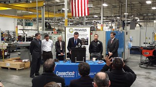CT Gov. Dannel P. Malloy at Pegasus Manufacturing in Middletown