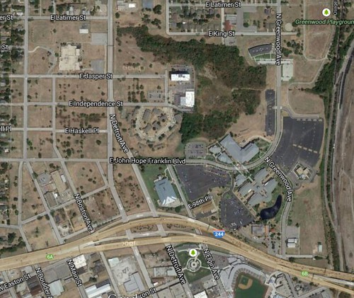 Tulsa, north of downtown, satellite photo, 2014