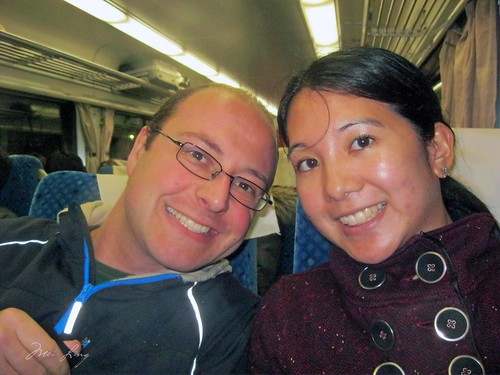 Mei and Dan on the train to Taipei Station.