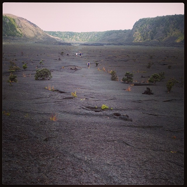 "Hiking inside the ""still steaming Kilauea Iki crater lava lake."""