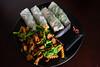 """Rotini with Pea Leaves & Breakfast Links and """"Shrimp"""" Salad Rolls (Vegan)"""