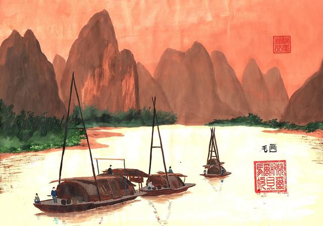 Boats on Li River - 12 June 2016