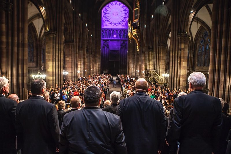 Colorado Symphony Chourus performs in the Cathedrale Notre-Dame de Strasbourg, France